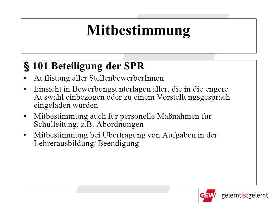 Mitbestimmung § 101 Beteiligung der SPR