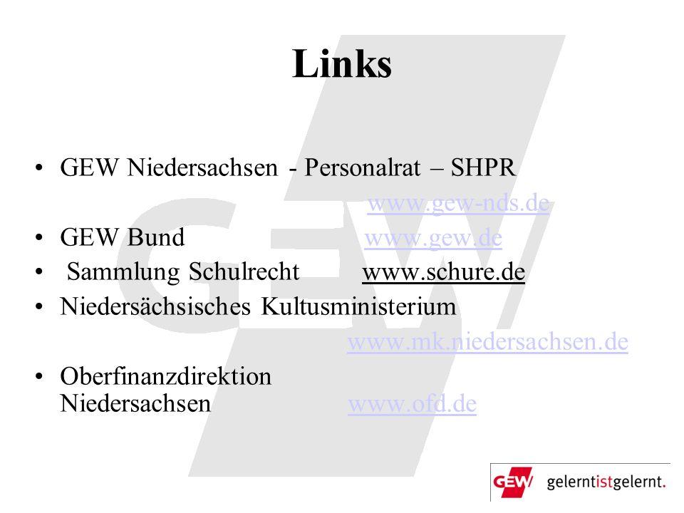 Links GEW Niedersachsen - Personalrat – SHPR www.gew-nds.de