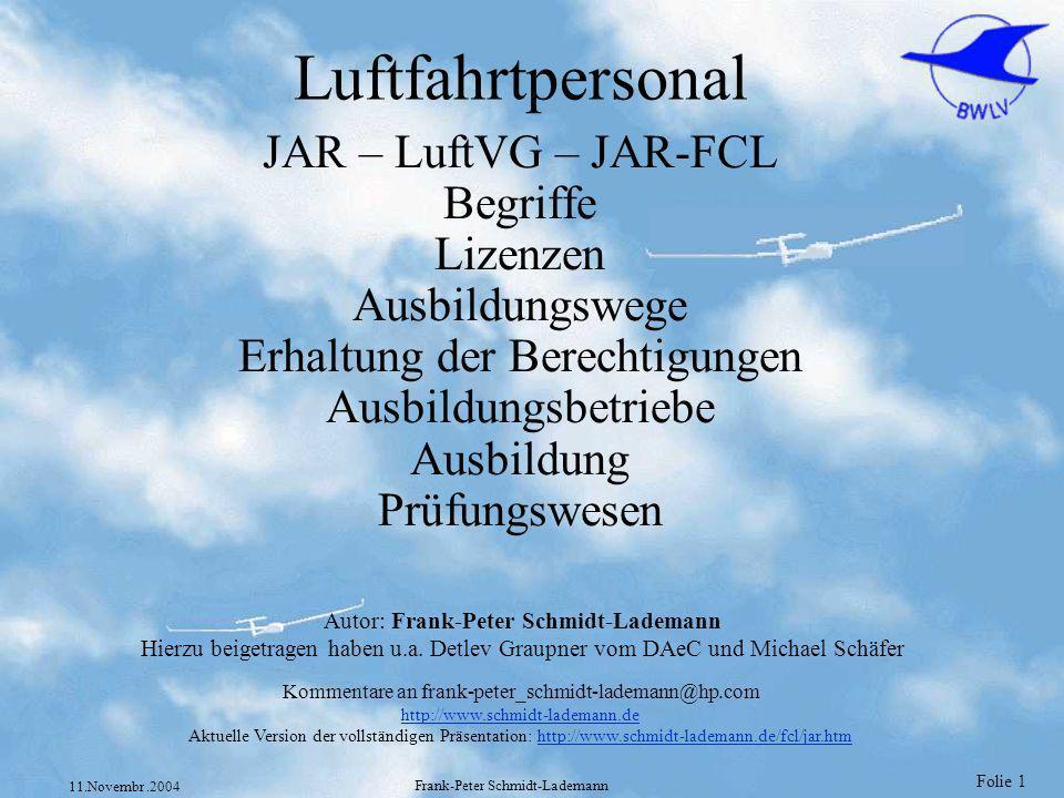 Luftfahrtpersonal JAR – LuftVG – JAR-FCL Begriffe Lizenzen