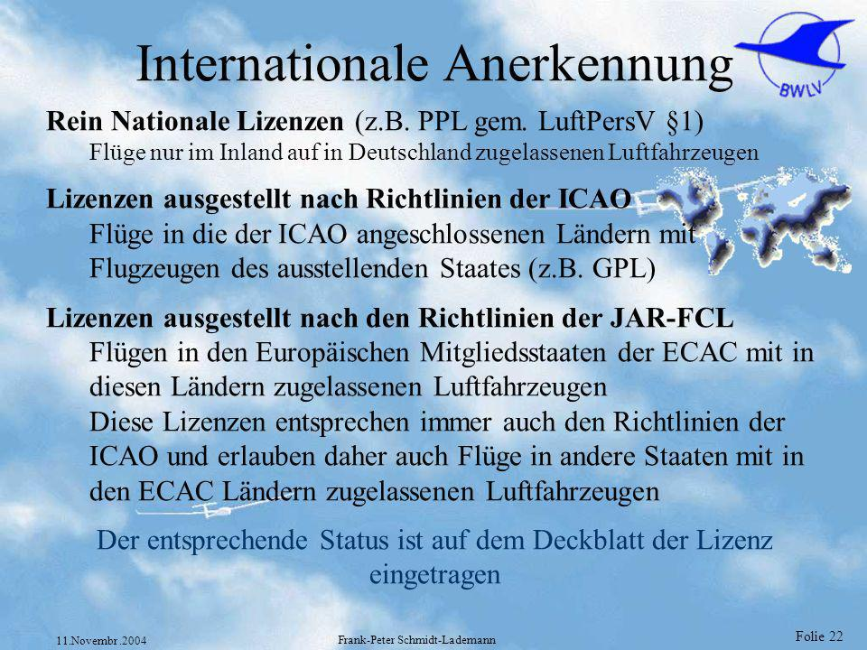 Internationale Anerkennung