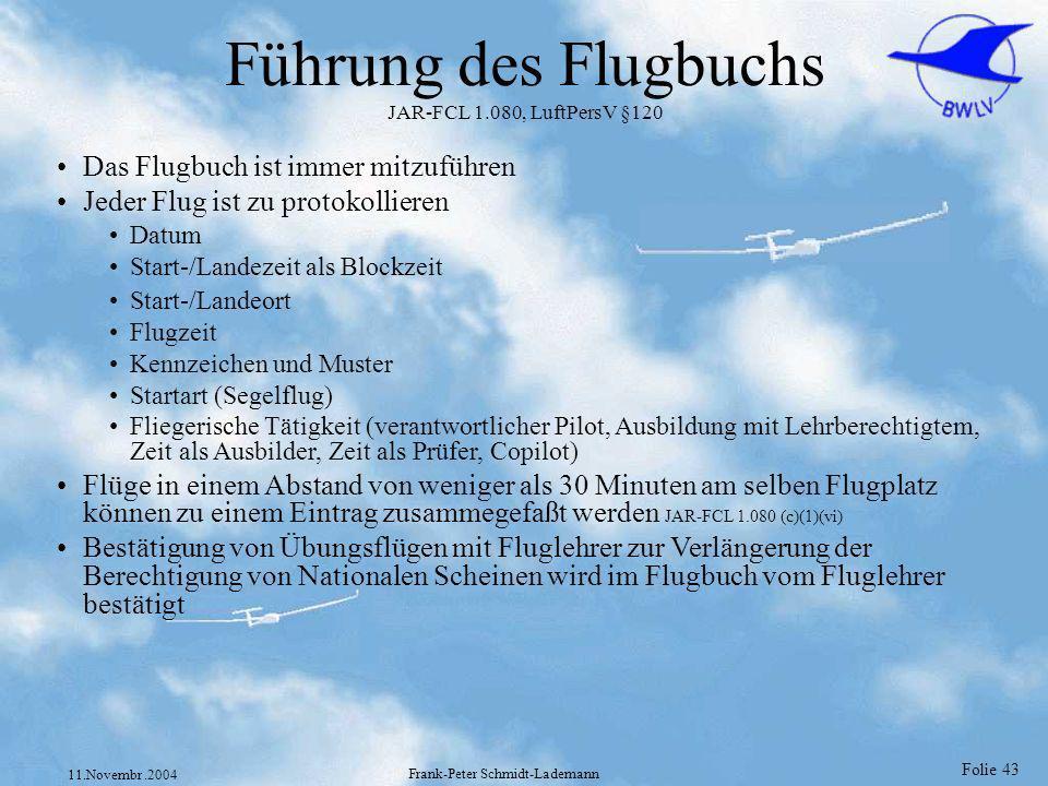 Führung des Flugbuchs JAR-FCL 1.080, LuftPersV §120