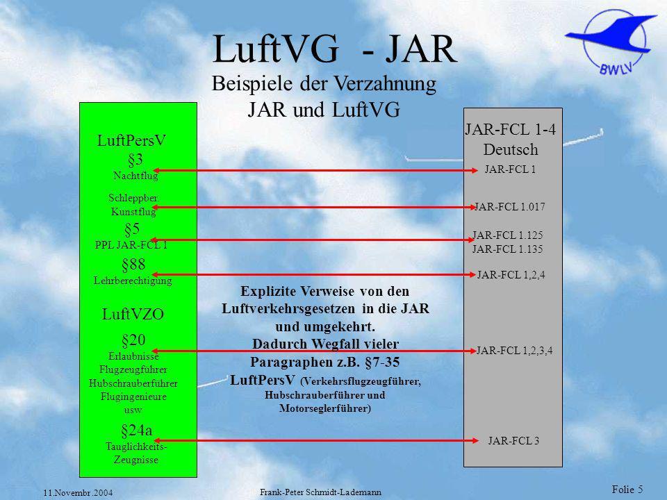 LuftVG - JAR Beispiele der Verzahnung JAR und LuftVG JAR-FCL 1-4