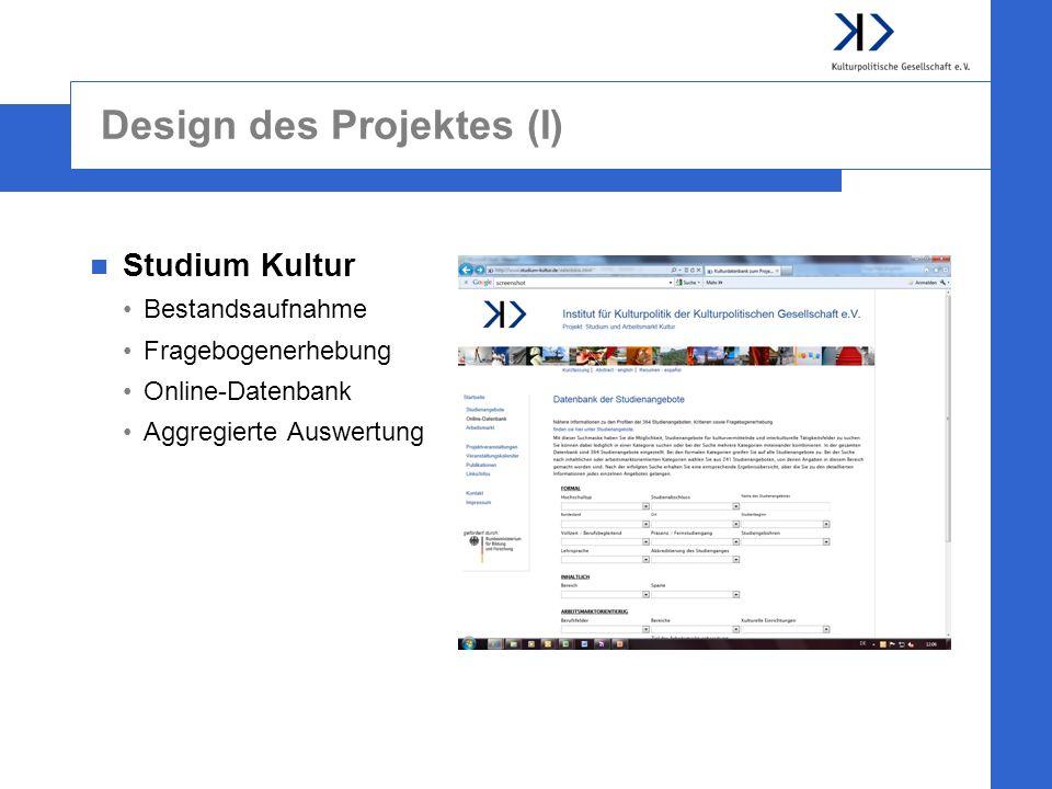 Design des Projektes (I)