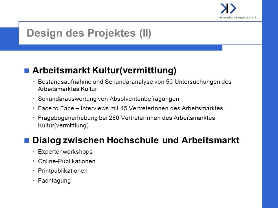 Design des Projektes (II)