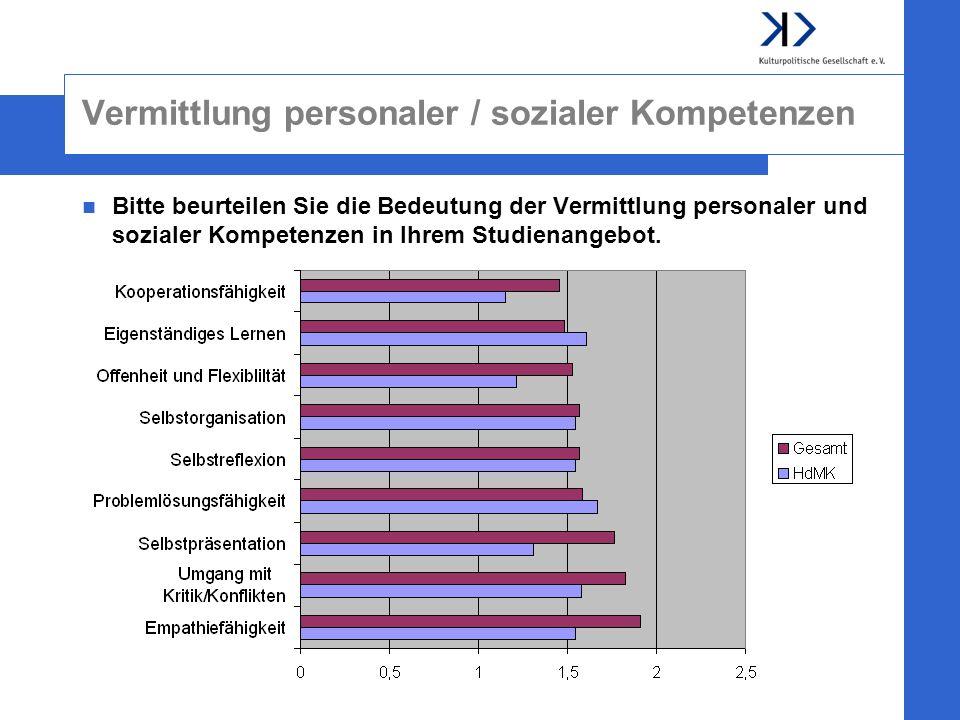 Vermittlung personaler / sozialer Kompetenzen