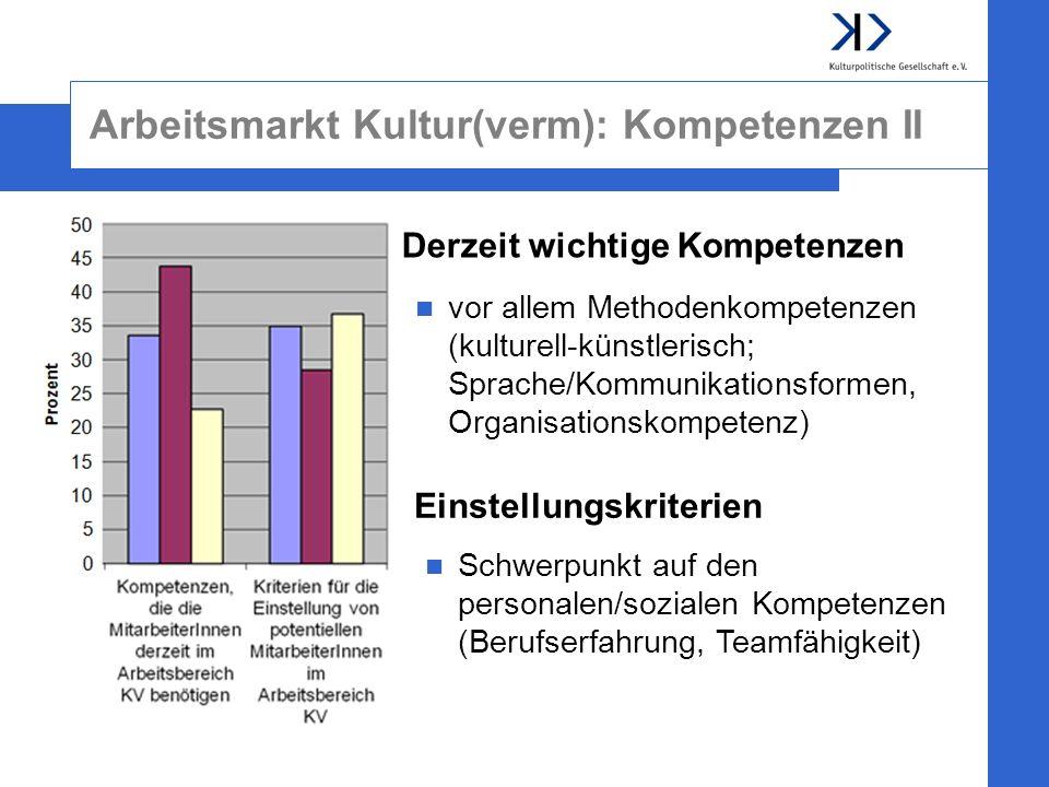 Arbeitsmarkt Kultur(verm): Kompetenzen II