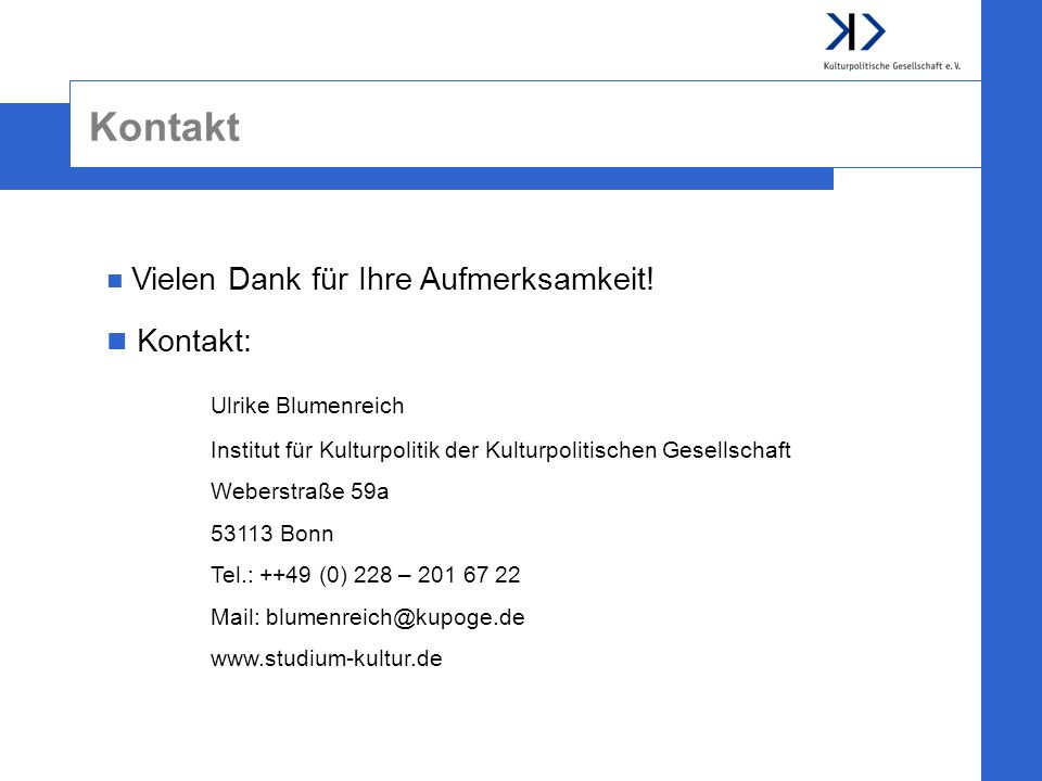 Kontakt Kontakt: Ulrike Blumenreich