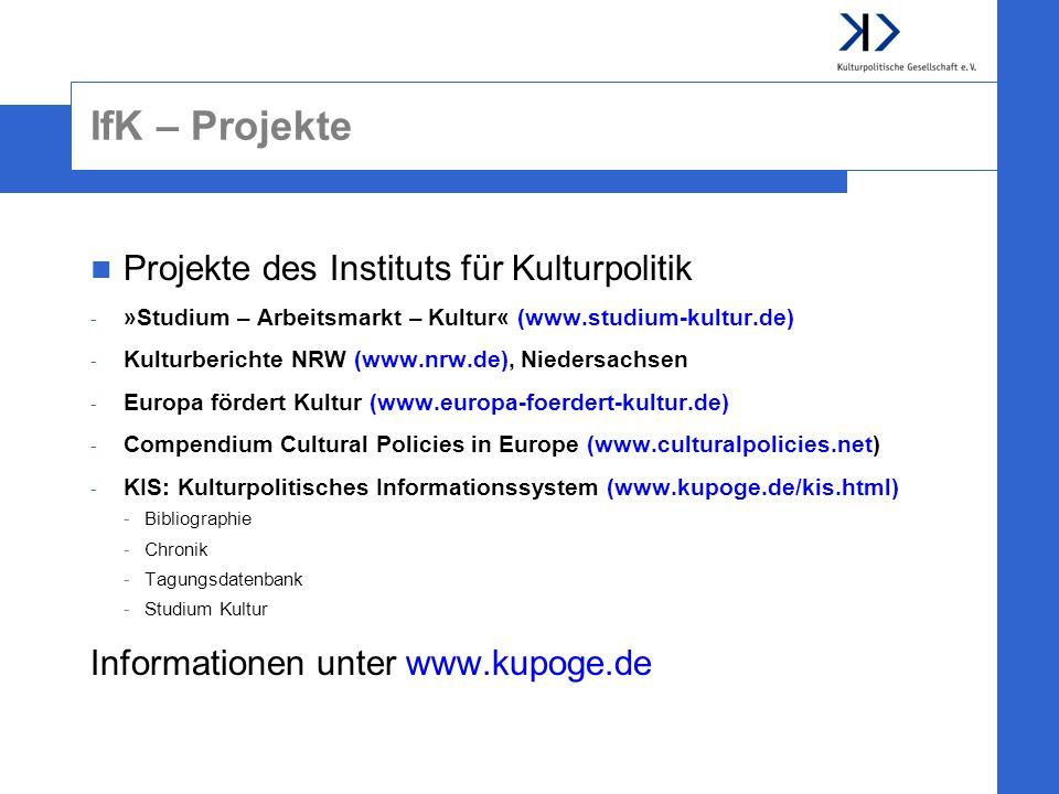 IfK – Projekte Projekte des Instituts für Kulturpolitik
