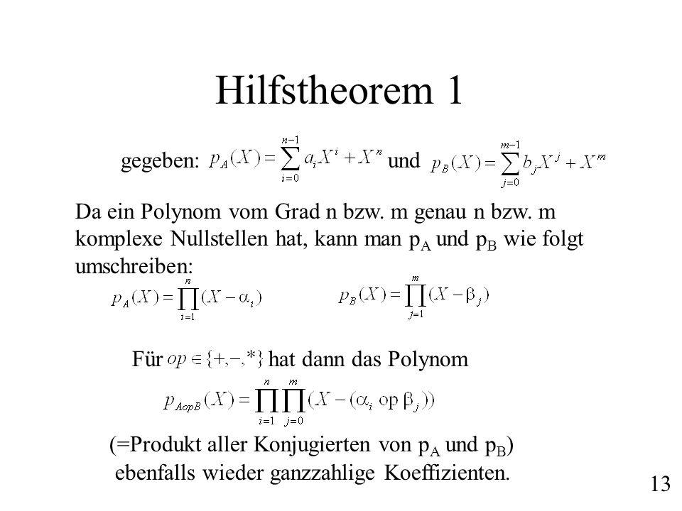 Hilfstheorem 1 gegeben: und