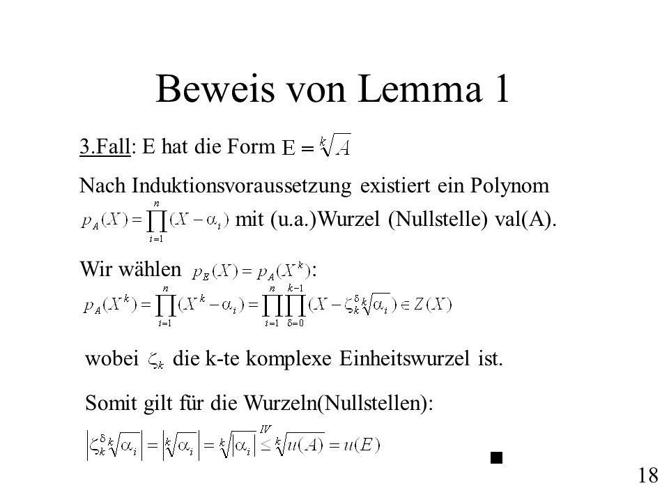 Beweis von Lemma 1 3.Fall: E hat die Form