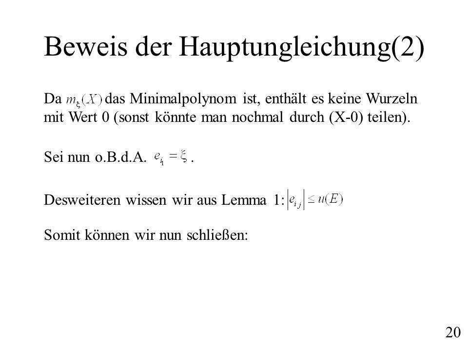 Beweis der Hauptungleichung(2)
