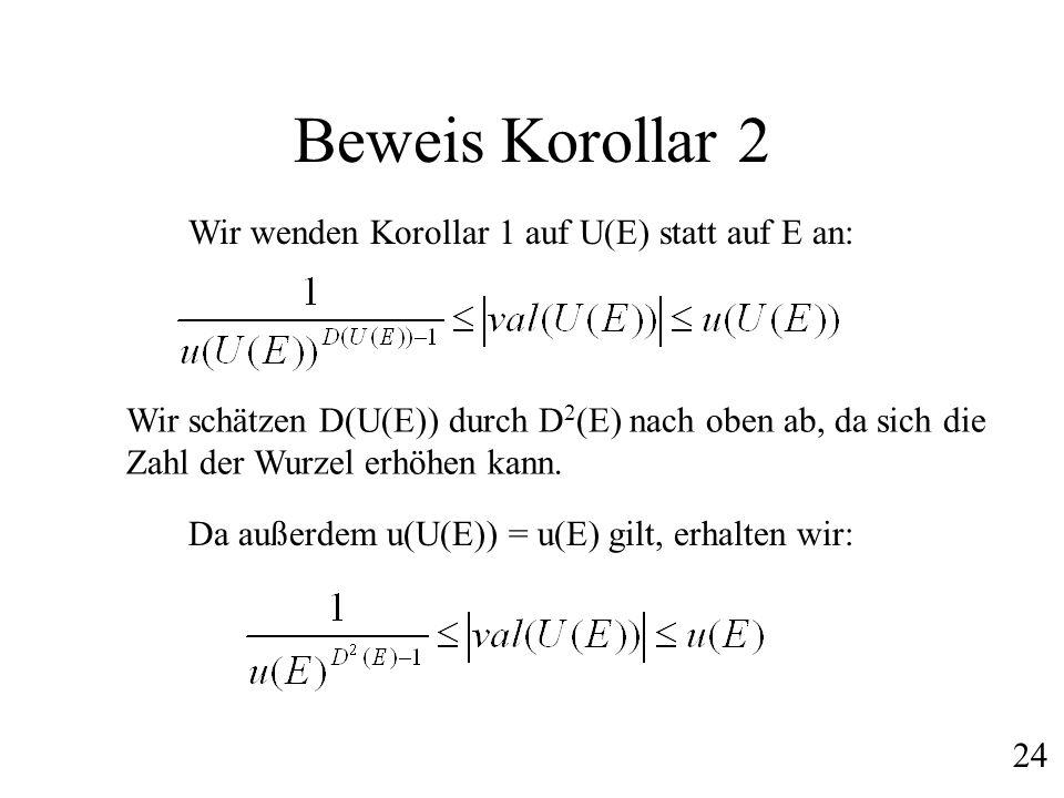 Beweis Korollar 2 Wir wenden Korollar 1 auf U(E) statt auf E an:
