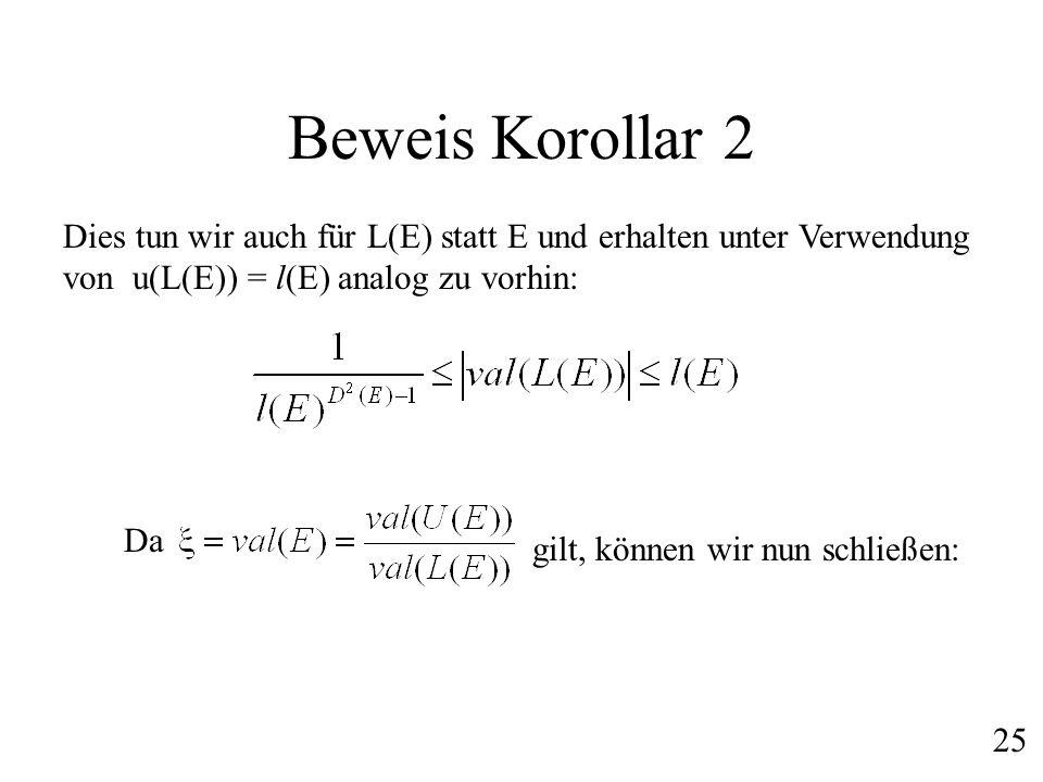 Beweis Korollar 2 Dies tun wir auch für L(E) statt E und erhalten unter Verwendung von u(L(E)) = l(E) analog zu vorhin: