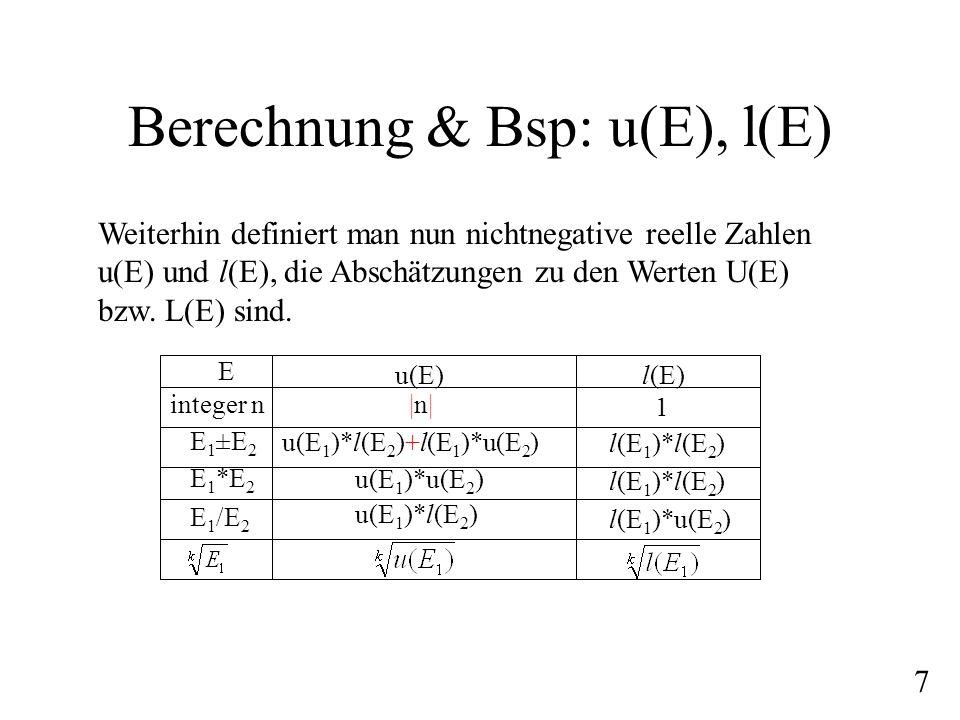 Berechnung & Bsp: u(E), l(E)