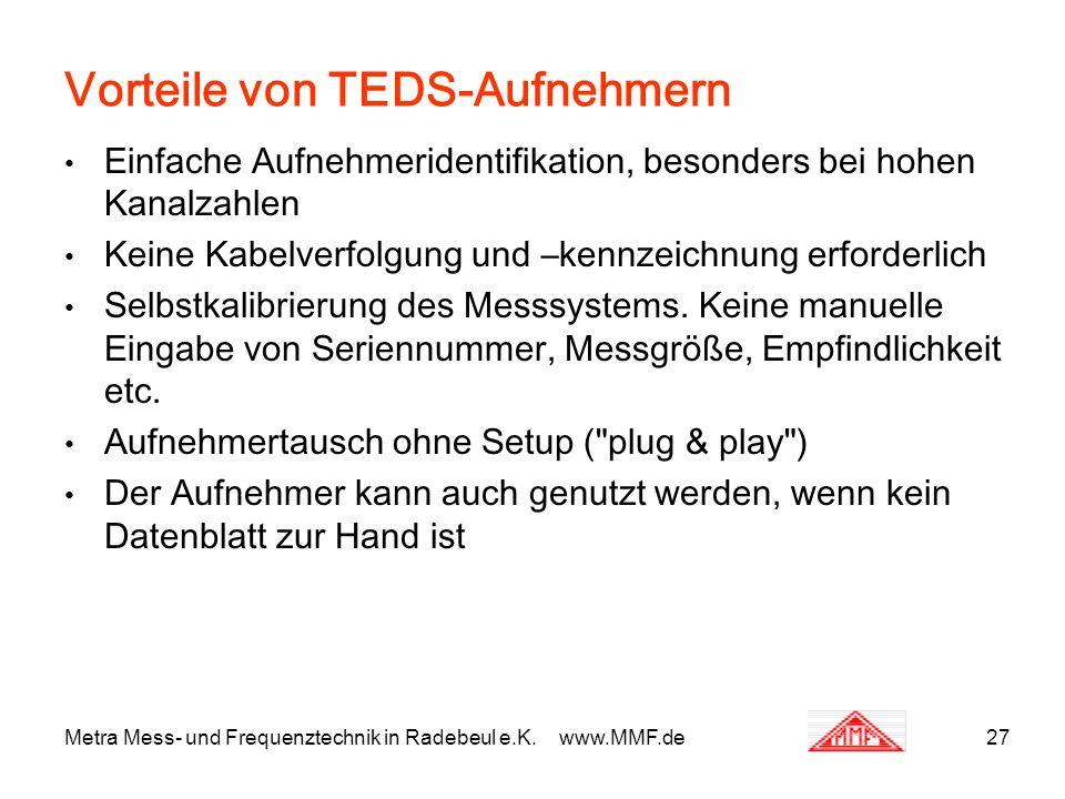 Vorteile von TEDS-Aufnehmern