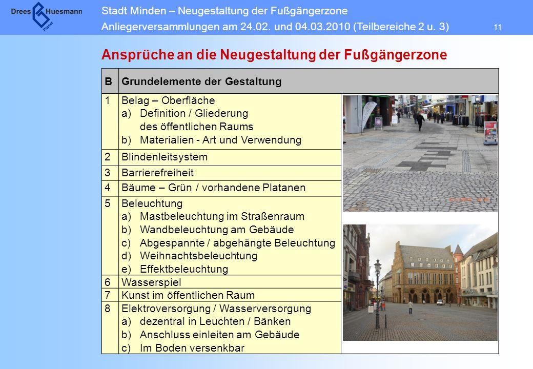 Ansprüche an die Neugestaltung der Fußgängerzone