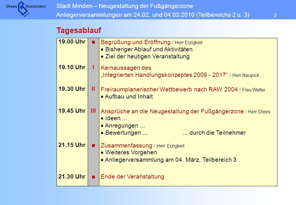 Tagesablauf 19.00 Uhr ■ Begrüßung und Eröffnung / Herr Erzigkeit