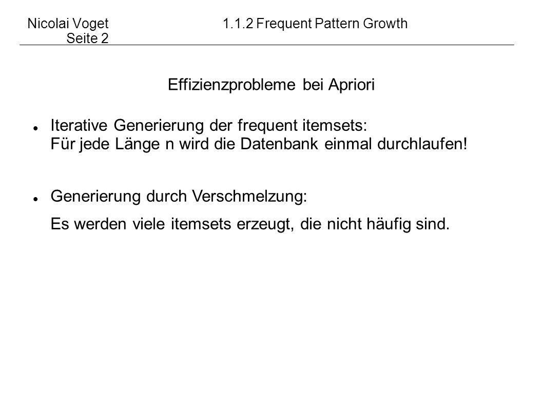 Nicolai Voget 1.1.2 Frequent Pattern Growth Seite 2