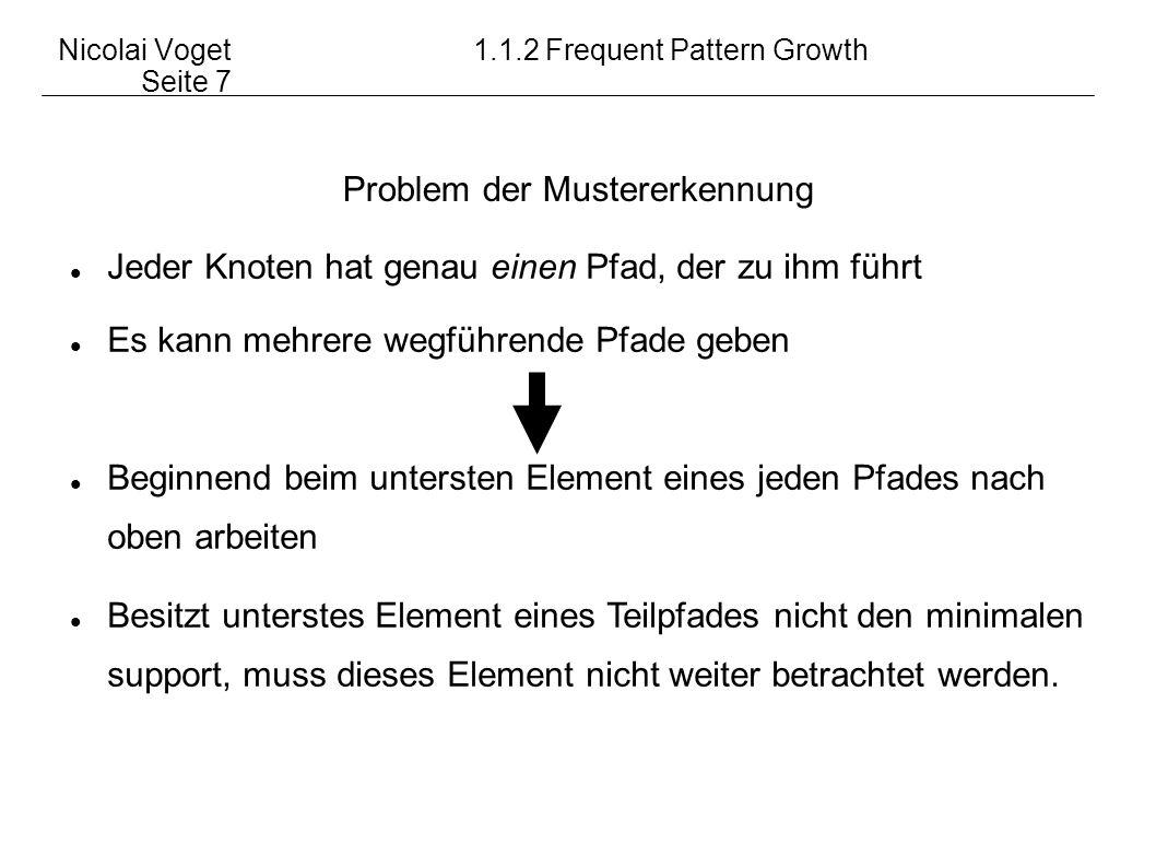 Nicolai Voget 1.1.2 Frequent Pattern Growth Seite 7