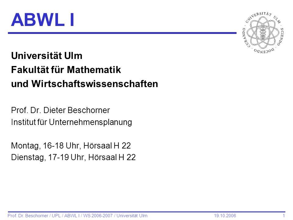 ABWL I Universität Ulm Fakultät für Mathematik