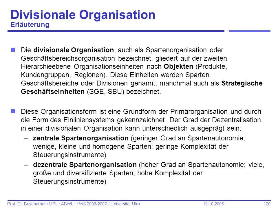 Divisionale Organisation Erläuterung