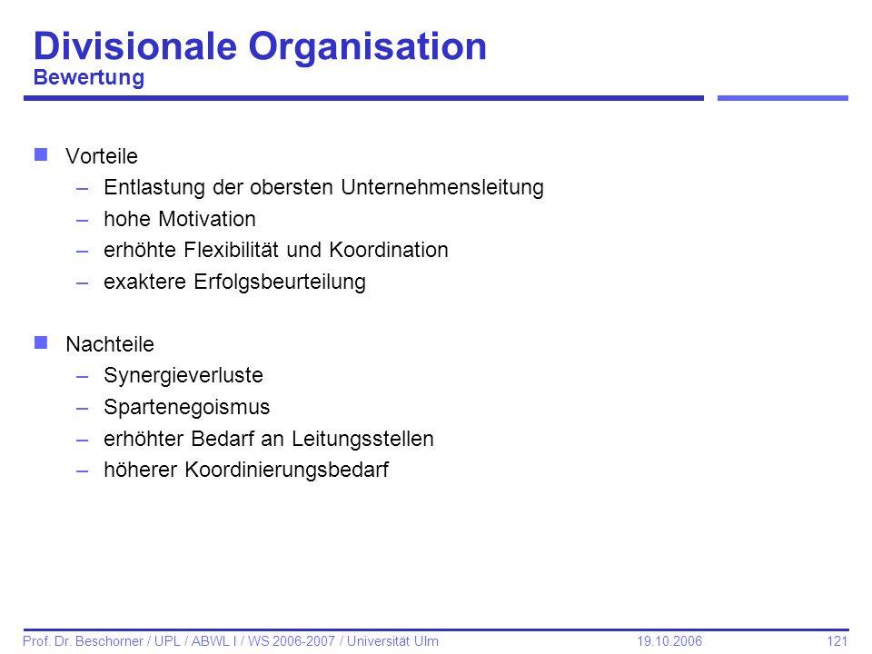 Divisionale Organisation Bewertung