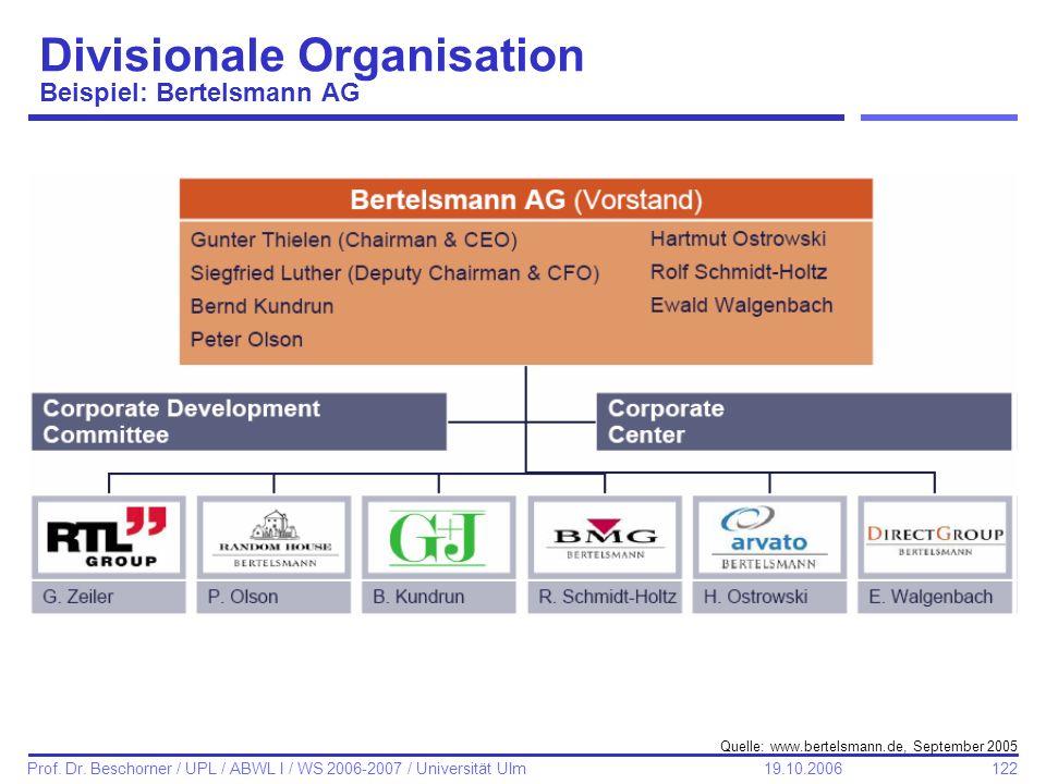 Divisionale Organisation Beispiel: Bertelsmann AG