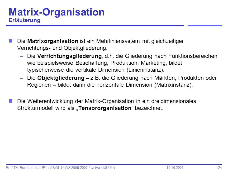 Matrix-Organisation Erläuterung