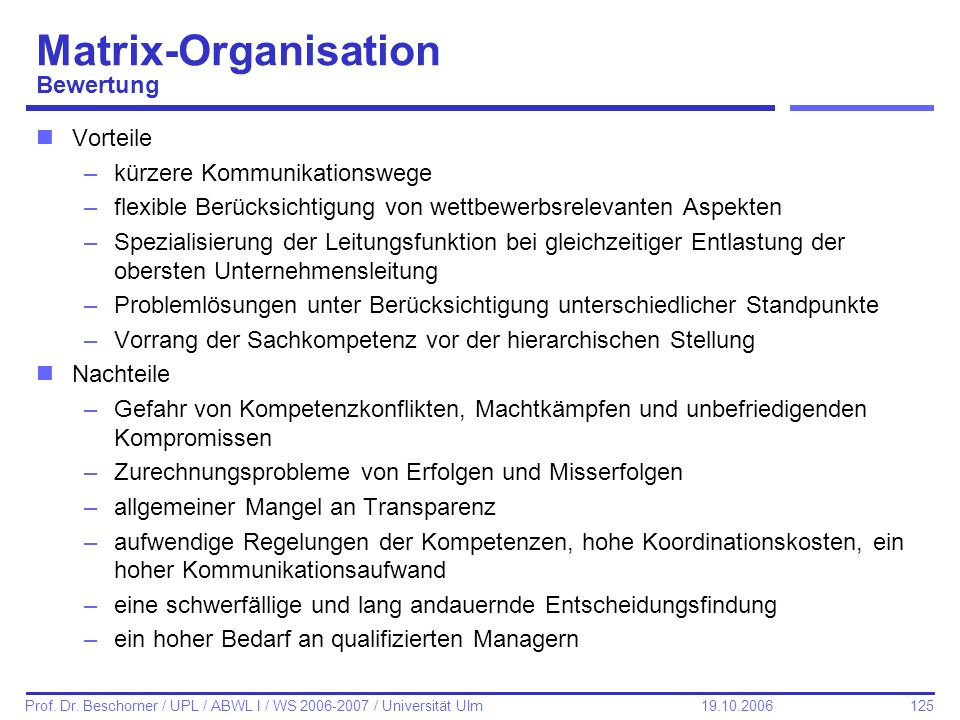Matrix-Organisation Bewertung