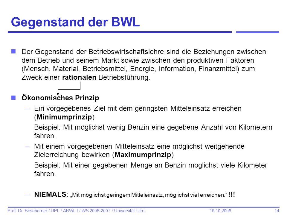 Gegenstand der BWL