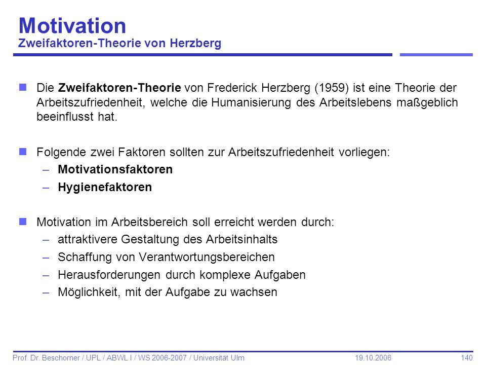 Motivation Zweifaktoren-Theorie von Herzberg