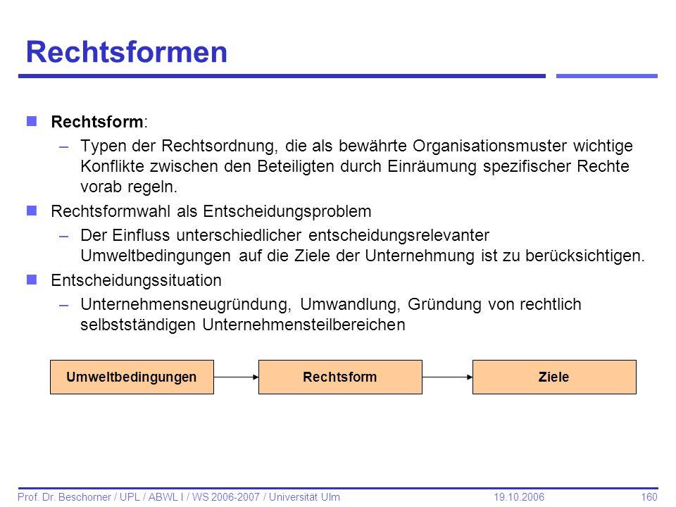 Rechtsformen Rechtsform: