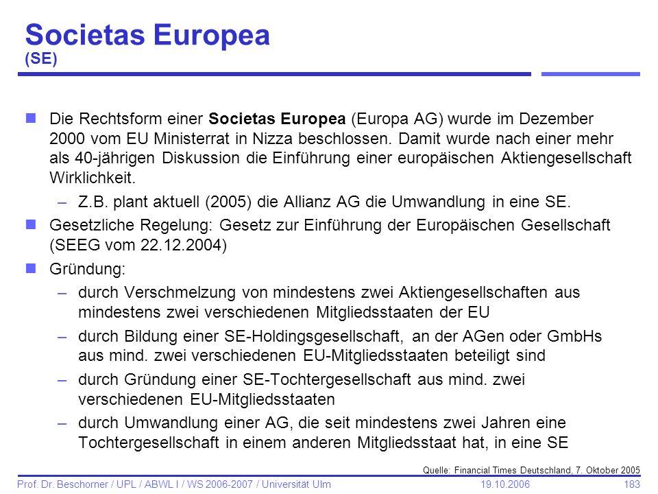 Societas Europea (SE)
