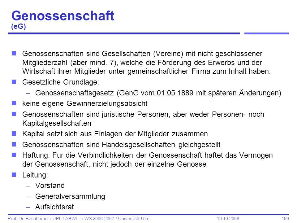 Genossenschaft (eG)