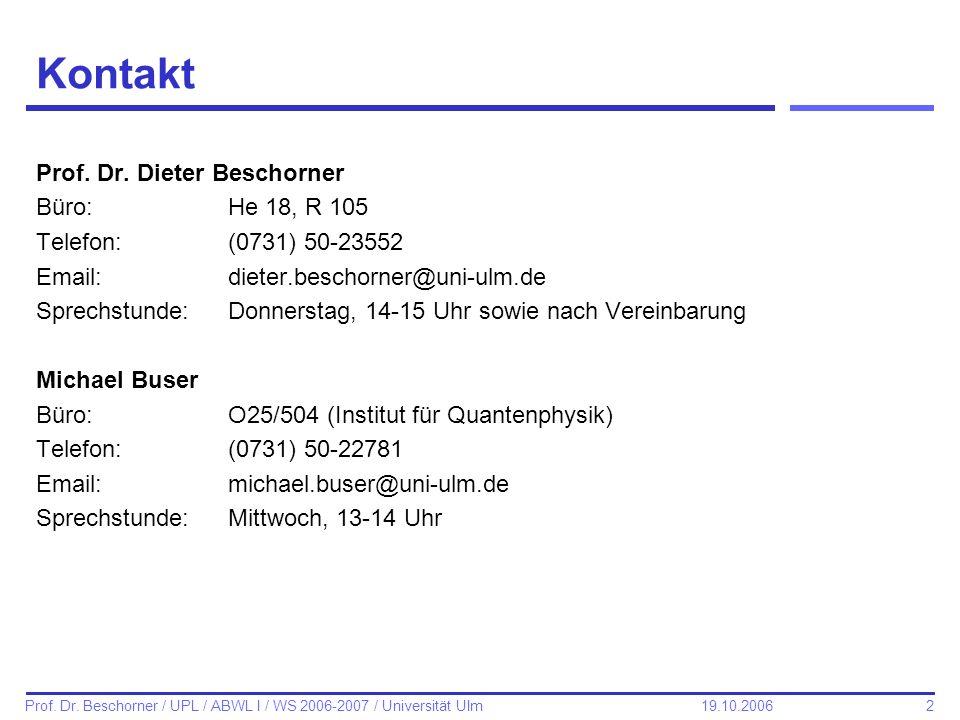 Kontakt Prof. Dr. Dieter Beschorner Büro: He 18, R 105