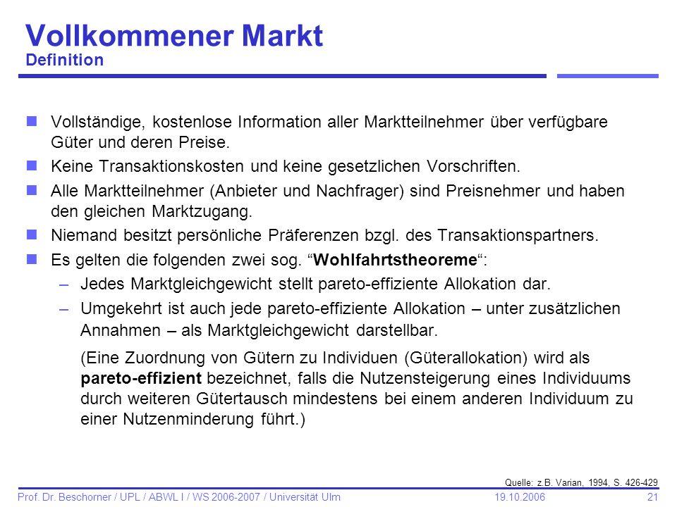 Vollkommener Markt Definition