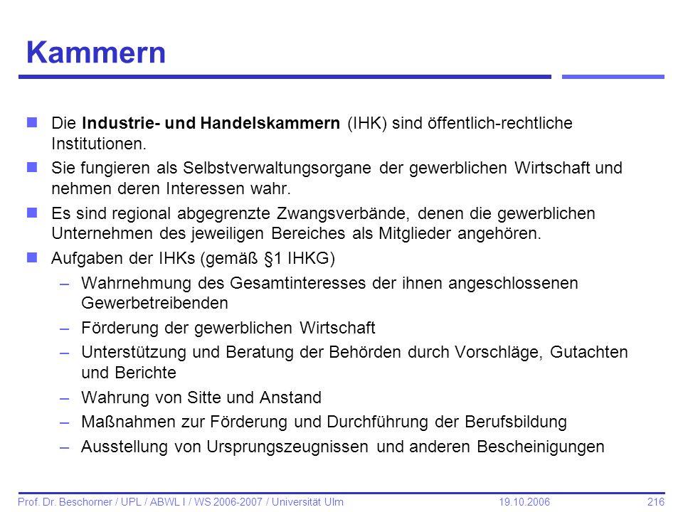 Kammern Die Industrie- und Handelskammern (IHK) sind öffentlich-rechtliche Institutionen.