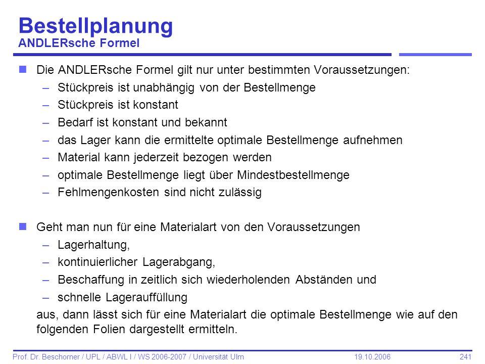 Bestellplanung ANDLERsche Formel
