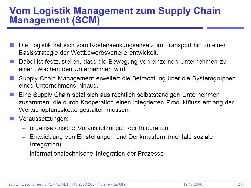Vom Logistik Management zum Supply Chain Management (SCM)