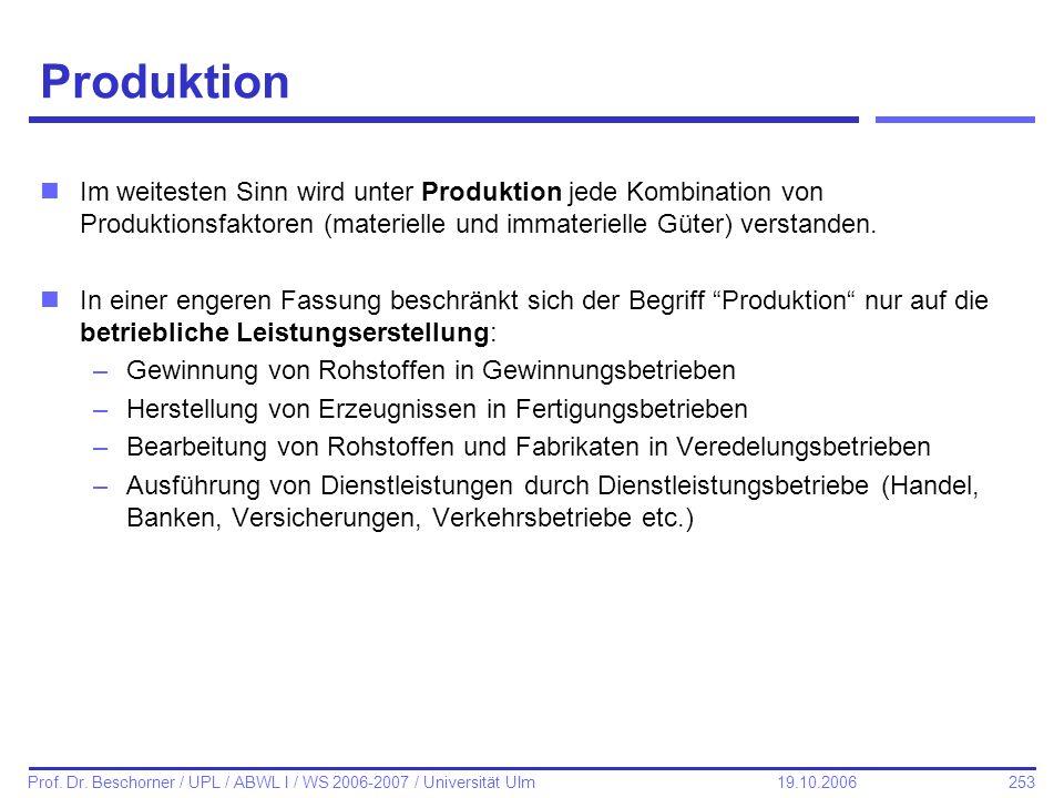 ProduktionIm weitesten Sinn wird unter Produktion jede Kombination von Produktionsfaktoren (materielle und immaterielle Güter) verstanden.