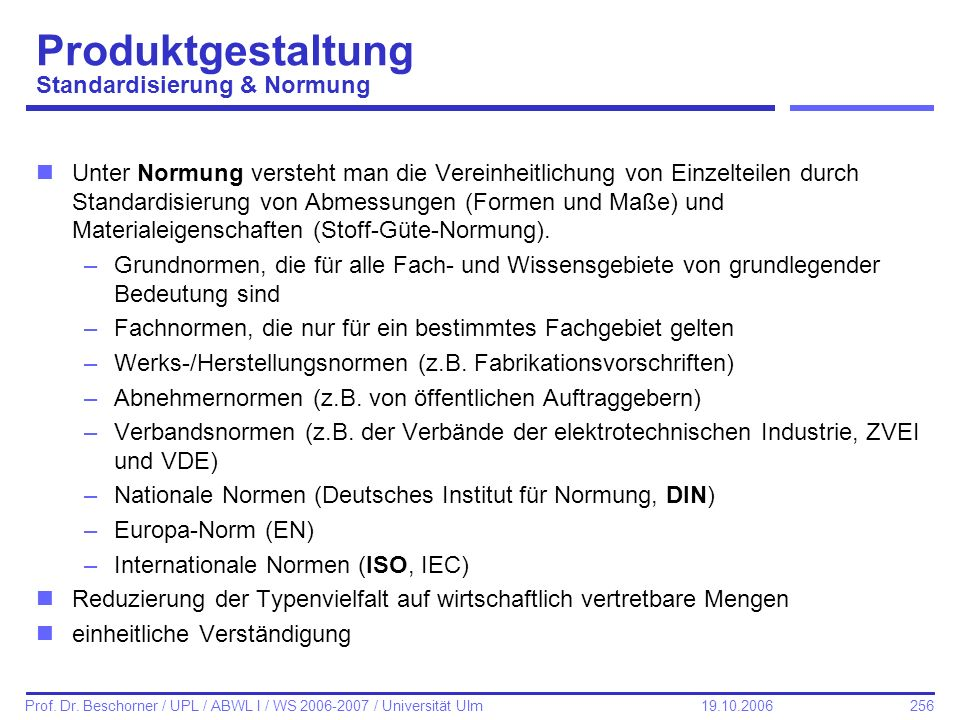Produktgestaltung Standardisierung & Normung