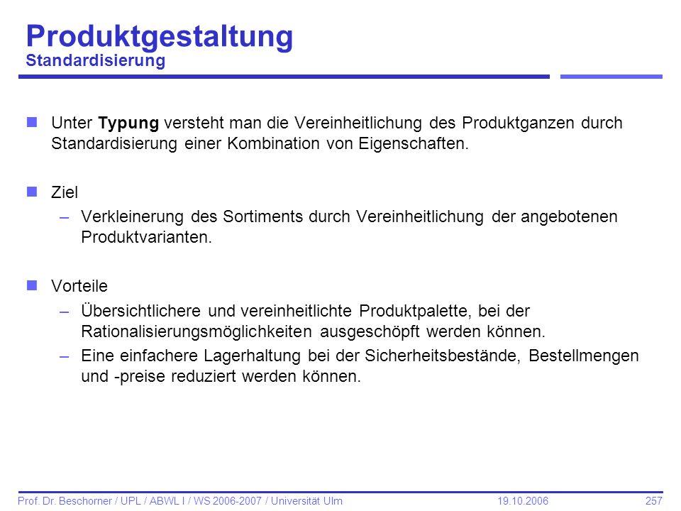 Produktgestaltung Standardisierung
