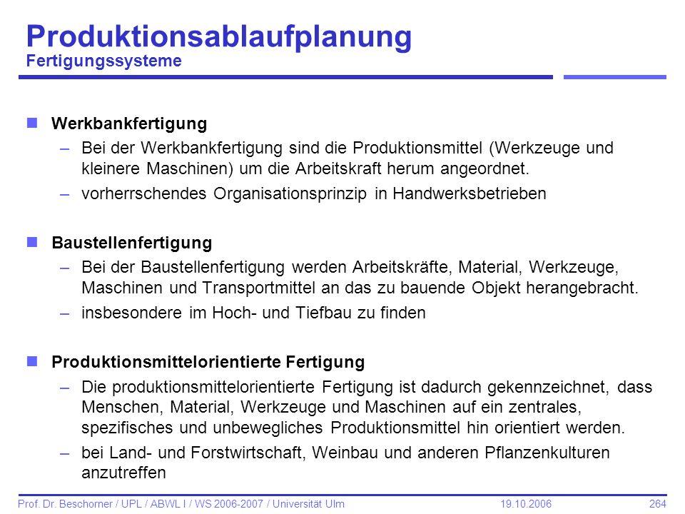 Produktionsablaufplanung Fertigungssysteme