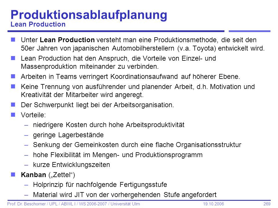 Produktionsablaufplanung Lean Production