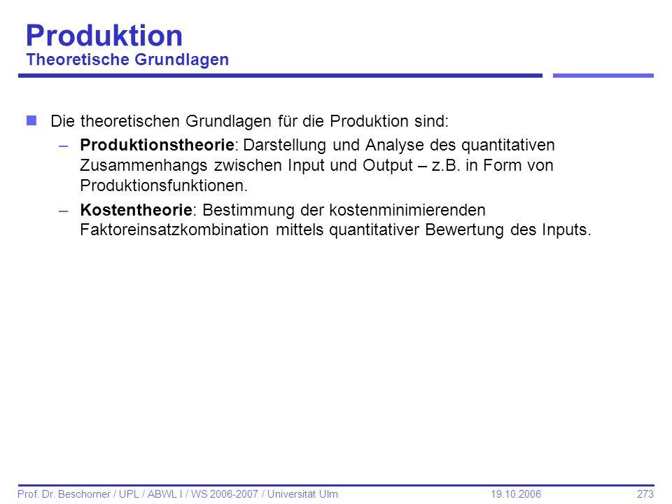 Produktion Theoretische Grundlagen