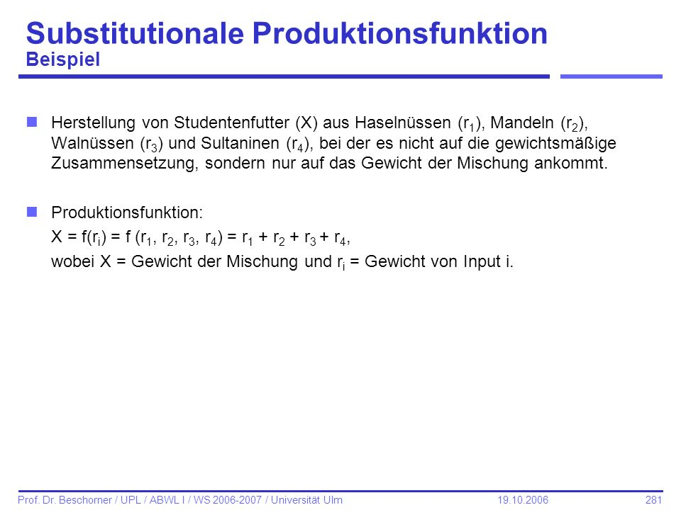 Substitutionale Produktionsfunktion Beispiel