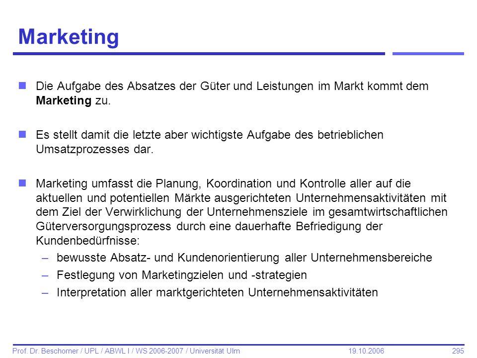 Marketing Die Aufgabe des Absatzes der Güter und Leistungen im Markt kommt dem Marketing zu.