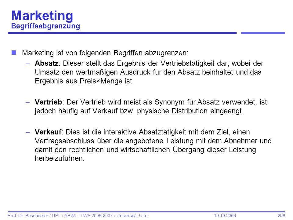 Marketing Begriffsabgrenzung