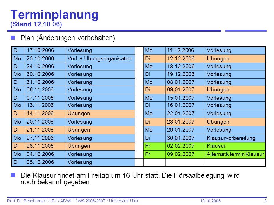 Terminplanung (Stand 12.10.06)