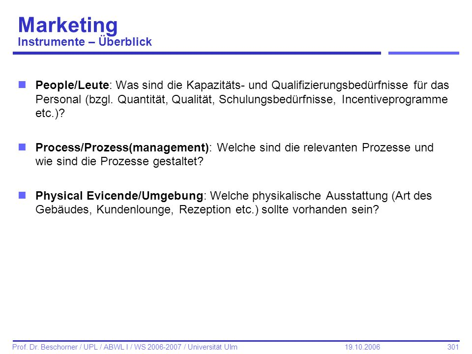 Marketing Instrumente – Überblick
